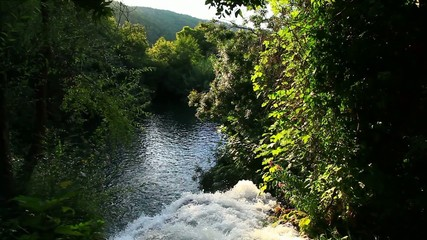 Waterfall in Krka National Park is one of the Croatian nature Ri