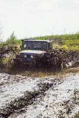 SUVs race on dirt