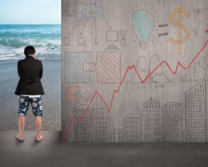 businessman wear shorts standing on beach entrance