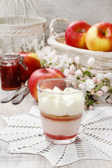 Layer strawberry dessert with whipped cream topping