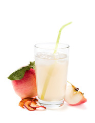Glass of fresh apple compote on a white background
