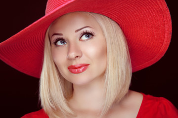 Blond woman with red lips wearing in hat, beautiful fashion girl
