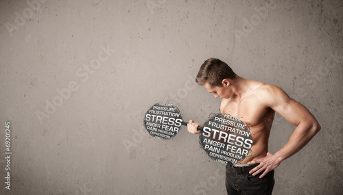 canvas print picture muscular man fighting with stress