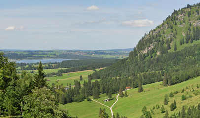 Panoramic view of beautiful landscape in the Bavarian Alps
