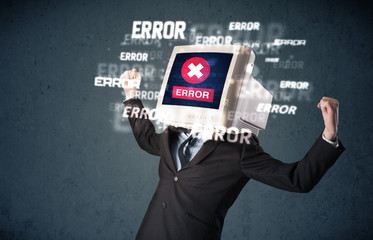 Business man with pc monitor on his head and error messages on t
