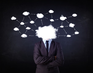Business man with cloud network head