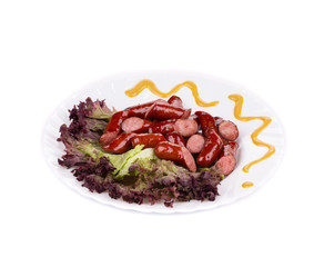 Salad with sausages.
