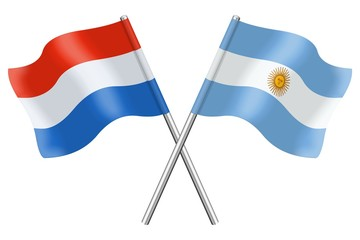 Flags : Luxembourg and Argentina