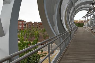 Spherical metal modern bridge Madrid, Spain