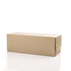 Brown shoe box on white isolated background