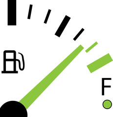 Illustration of a Fuel Gauge on White Background