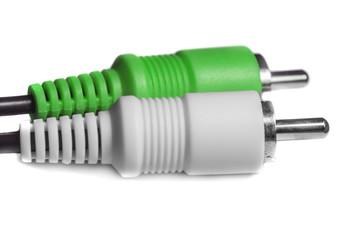 Green white audio video jacks