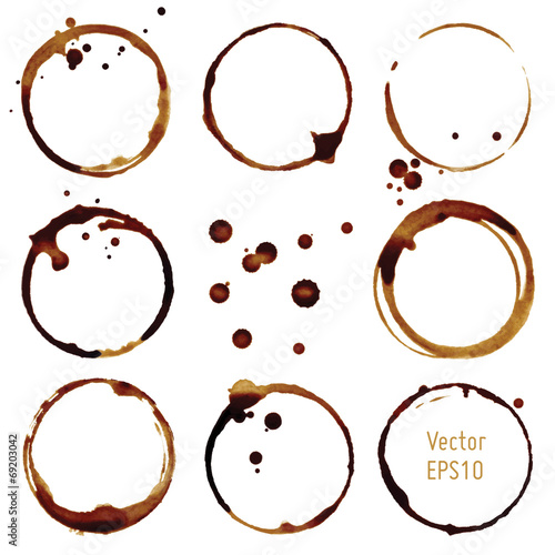 Vector coffee cup stains - 69203042