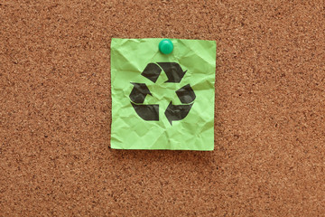 Crumpled green Recycling symbol