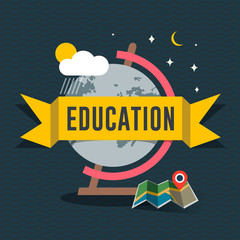 Education flat design concept for web and mobile apps.
