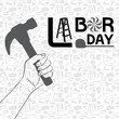 Hand holding hammer with pattern of tool background