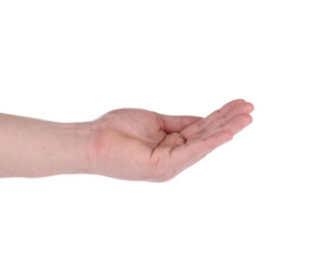 Open palm hand gesture of male hand.