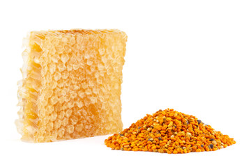 Honeycomb and pollen on isolated background