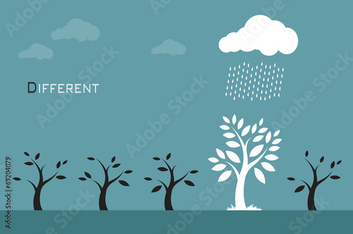 Vector images of trees, clouds and rain. Different concepts - 69204079