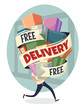 Free delivery. Vector illustration.