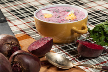 Beet soup cold.