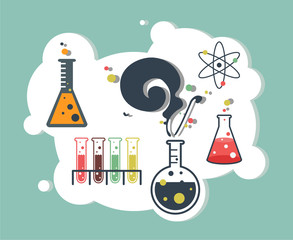 Old science and chemistry infographic laboratory