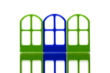 Three gates of green and blue color