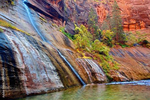 Leinwanddruck Bild Mystery Falls Zion National Park Utah