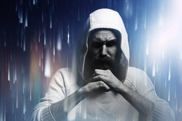 bearded man praying