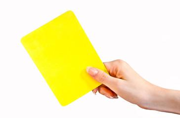 Hand zeigt Gelbe Karte