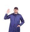 Worker wearing long robe.