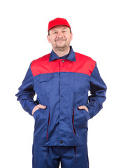 Worker in red-blue workwear.