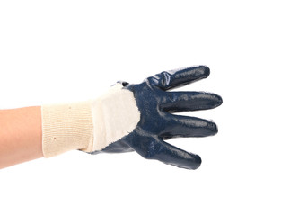 Hand shows four in rubber glove.