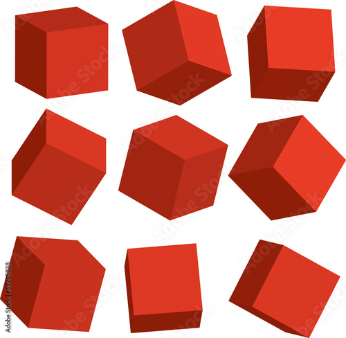 Illustration of Red 3D cubes in different positions - 69205838