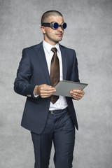 businessman in protective googlach