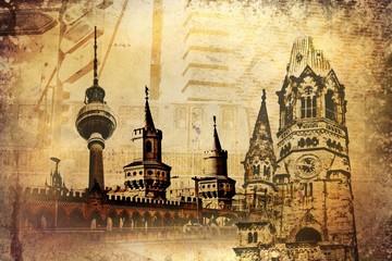 Berlin city, Germany, vintage, retro, old