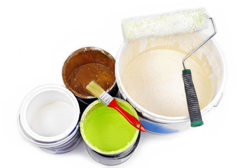 paint cans and paint tools