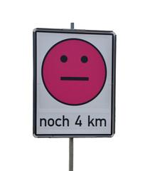 Smiley auf einer Autobahn-Baustelle
