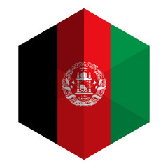 Afghanistan Flag Hexagon Flat Icon Button