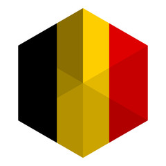 Belgium Flag Hexagon Flat Icon Button