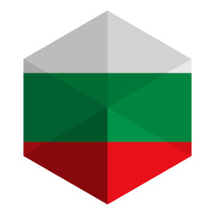 Bulgaria Flag Hexagon Flat Icon Button