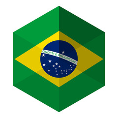 Brazil Flag Hexagon Flat Icon Button