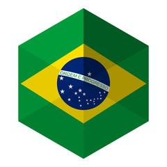 Brazil Flag Hexagon Flat Icon Button