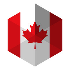 Canada Flag Hexagon Flat Icon Button