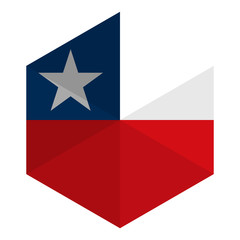 Chile Flag Hexagon Flat Icon Button