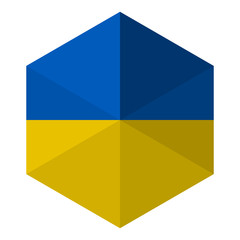 Ukraine Flag Hexagon Flat Icon Button