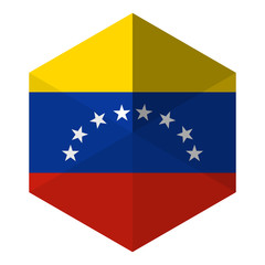 Venezuela Flag Hexagon Flat Icon Button