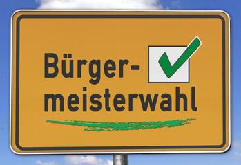 Ortsschild Bürgermeisterwahl, grün
