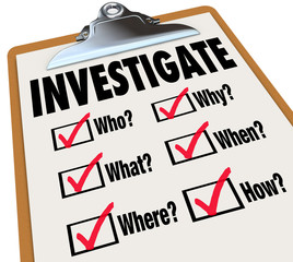 Investigate Basic Facts Questions Check List Investigation