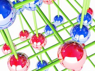 Molecular crystalline lattice, 3D render.